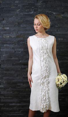 """Купить Платье """"Подснежник"""". Шелк, шерсть. - платье, валяное платье, шелковое платье, купить платье"""