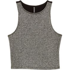 H&M Glittery sleeveless top (29320 PYG) ❤ liked on Polyvore featuring tops, silver, jersey top, sleeveless jersey, jersey crop top, h&m tank tops and sleeveless tank