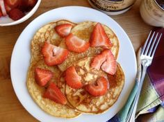 """Cottage Cheese """"Power Pancakes"""" Healthy + Delicious way to begin the day. 276 calories + 7 Weight Watchers Points Plus. http://simple-nourished-living.com/2013/06/cottage-cheese-power-pancakes-recipe/"""