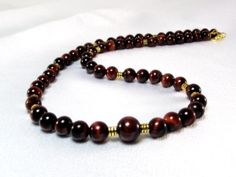 Men's Red Tiger's Eye Necklace - Cha Cha Cherry Men's Beaded Necklace By Designed by Audrey on Artfire $44.00