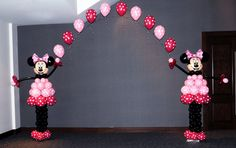 Minnie Mouse Arch Yes, there is one more way to make a #balloon arch shine!  #Minnie Mouse balloon arch for a birthday party of a very special young lady.   Each balloon sculpture is 6`, so the arch can be 10' - 15' with very limited additional resources.  Theme : Mickey Mouse      #Montreal QC