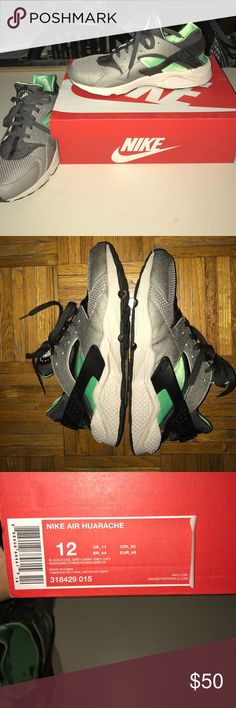 Nike Air Huarache Fog-Poison Green/Grey Nike Air Huarache  Size 12 Worn/ Used (refer to pictures for condition) Will negotiate price Nike Shoes Sneakers