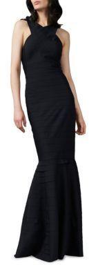 Kay Unger Halter Neck Textured Gown