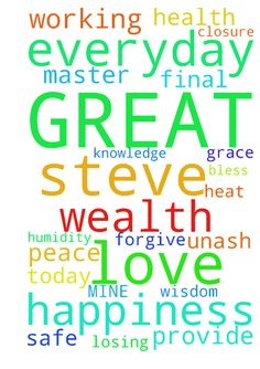 GREAT FATHER OF MINE -  TO ALL PRAY FOR ME FOR THE FATHER GREAT MASTER TO PROVIDE TO ME BY HIS GRACE CLOSURE FINAL PEACE HAPPINESS WEALTH HEALTH WISDOM AND KNOWLEDGE BE PROTECTED AND SAFE IN JESUS NAME I ASK BLESS ALL LOVE STEVE UNASH FATHER FORGIVE ME FOR LOSING MY TEMPER TODAY AND EVERYDAY WORKING IN THE HEAT AND HUMIDITY  Posted at: https://prayerrequest.com/t/LZU #pray #prayer #request #prayerrequest