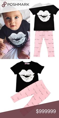 Just in✨ Lips 💋 Eyelash Outfit Brand New! Absolutely adorable 💋set. Great for that adorable little princess. Includes Black top with kids lips and Bottoms with eyelash print. Cotton material.                                    ✨Bundle & Save✨              💟Boutique items may or may not have tags but shipped New from supplier.       💟Please ask any questions you may have before purchase. Matching Sets