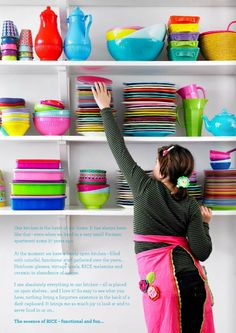 Bright and beautiful ....#storage #kitchen #rice #crockery #colours #bright #pink #color #ble #green #yellow #apron #plate #bowl #vase
