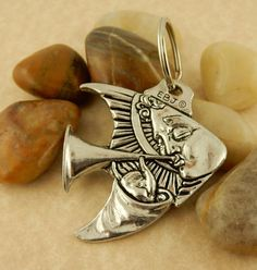 Angelfish, Angel blowing trumpet, double sided Pewter Keychain Key tag