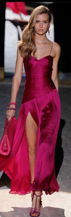Salvador Ferragamo ~ Fuchsia Silk Gown w Front Side Slit