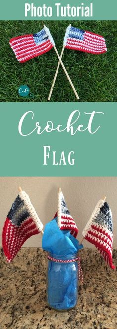 Crochet flag photo tutorial for the 4th of July | free crochet pattern| us flag crafts | independence day flags | diy flag | celebrate the 4th | flag how to