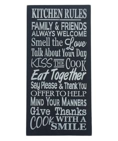 Look at this 'Kitchen Rules' Wall Sign on #zulily today!