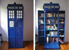 TARDIS shelf that starts playing Dr Who themed songs/noises when you open the left door.