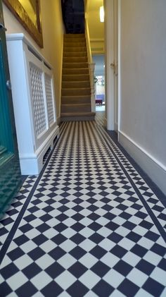Mosaic floor design ideas for makeover your home 94 - Savvy Ways About Things Can Teach Us Black And White Hallway, Victorian Radiators, Entrance Hallway, Hallway Flooring, House Interior, Flooring, White Tile Floor, Hall Tiles, Tiled Hallway