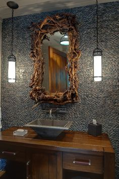 River Stone Tile with Asian Eclectic Modern