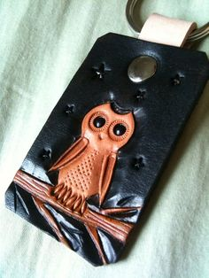 Hand Tooled Leather Owl Keychain by CoastalMaineCreation on Etsy, $18.00