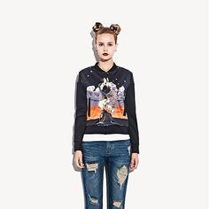 Othermix Women Jackets Plus Velvet Print Casual Coats Uniform Shirt Black Short Jacket Female Outerwear