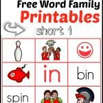 Free Word Family Printables - 7 read 'n stick mats for short i
