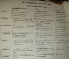 GOSSIP, GISTS, EVERYTHING UNLIMITED: See The Time Table for Students' Meal at Redeemer ...