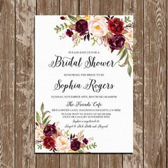 Bridal shower invitation, Burgundy Floral Bohemian Printable Bridal Shower Invitation, Digital Files, Bridal Shower DIY - BPF-23