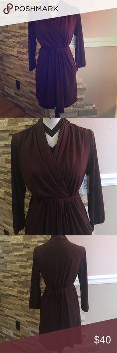 Bar III Cinched-Waist Surplice Dress Super cute dress, plum color. Perfect for Christmas party Bar III Dresses Midi