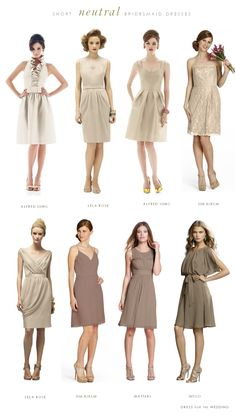 Short neutral bridesmaid dresses in champagne and taupe