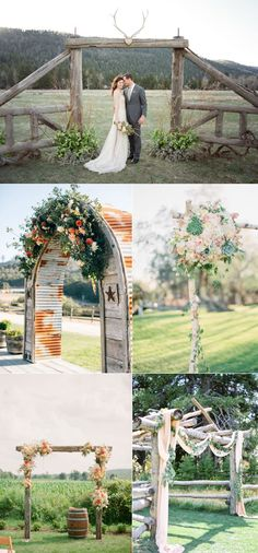 elegant country rustic wedding arches