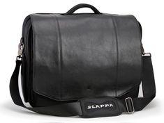 Slappa Kiken 16-Inch Black Leather Flap Custom Build Laptop Shoulder Bag (SL-SB-104-16-07)