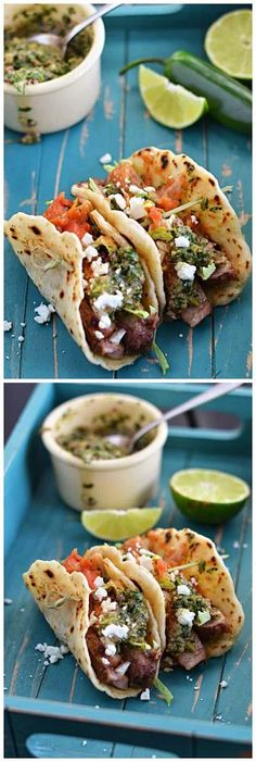 Steak Tacos - delicious!!! Chimichurri is too spicy for the kids. Made a batch of ground beef with taco seasoning to supplement cheaper meat for the kids. Perfect!