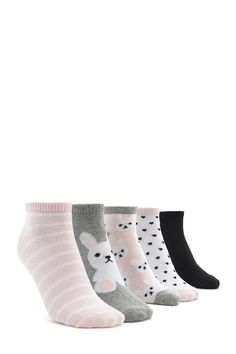 A set featuring five pairs of knit ankle socks with ribbed knit trim and polka dot, solid, stripe, and bunny patterns.