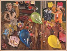 Jacqueline Fahey's 1974 painting 'The birthday party' captures the excitement of a children's party – the colourful balloons, paper hats, wrapping paper, toys, sweets and cake – as well as the exhaustion of the adults who organise it. Animal Party, Party Animals, Famous Artwork, Postmodernism, American Art, Art History, Birthday Parties, Space Place, Creative