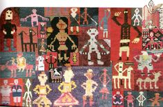 """A composite of some images on the inscribed Armenian carpets in the """"Passages"""" exhibition, San Francisco, 2002"""
