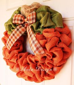Celebrate Fall with this beautiful pumpkin burlap wreath! Made with almost 60 fe… – Wreath Thanksgiving Wreaths, Autumn Wreaths, Holiday Wreaths, Wreath Fall, Mesh Wreaths, Halloween Burlap Wreaths, Thanksgiving Messages, Floral Wreaths, Spring Wreaths