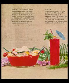 1960's tropical drink recipes souvenir mailer from Tonga Room, Fairmont Hotel- San Francisco, CA.