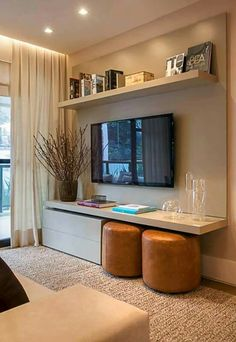 If you have a small home and living room, these small living room decorating ideas we prepare for you will make your life easier. Your home will look amazing with the beautiful small living room ideas you can get inspired. Small Living Rooms, Home And Living, Modern Living, Small Living Room Ideas With Tv, Tv Room Small, Living Area, Tv In Living Room, Small Livingroom Ideas, Small Condo Living