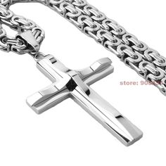 Granny Chic Fashion Stainless Steel Cross Pendant Necklace Link Byzantine Chain Silver Tone Necklaces for Men's Men Necklace, Pendant Necklace, Cross Chain, 316l Stainless Steel, Cross Pendant, Black Gold, Byzantine, Necklaces, Granny Chic