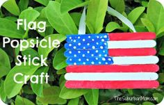 Popsicle Stick 4th of July Flag Craft For Kids