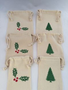 6 Reusable Holiday Gift Bags Various Sizes: by MadHatterPartyBox