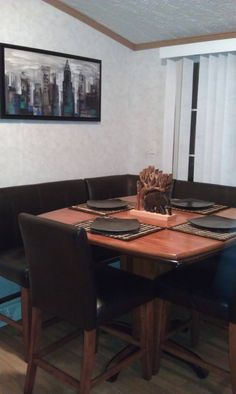 Bar style leather booth dining table