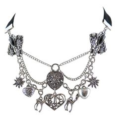 Costume jewelry necklace Dirndl - chain in the Charivari style - Edelweiss heart and Deer Pendant - Black: Amazon.de: Jewelry