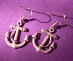 Anchor Earrings Nautical Earrings Anchor and Rope by PunkrockPinup,