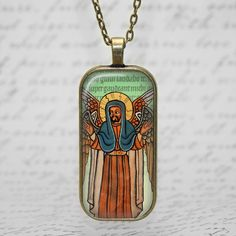 Handmade religious coptic Ethiopian art necklace with an image of  who I believe to be an Archangel    Here is a little history about the Coptic art