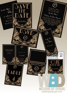 Art Deco Wedding Invitation Suite #artdecowedding #artdeco #weddinginvitation  www.weddingbydesigns.com