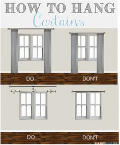 Thursday's Tips & Tricks: How to Hang Curtains. Home decorating ideas - How to hang curtains, so many great tips. living room decor farmhouse You can find out more details at the link of the image. Cheap Home Decor, Diy Home Decor, Home Decor Styles, Sweet Home, Diy Casa, Hanging Curtains, How To Hang Curtains, Bedroom Window Curtains, Diy Curtains