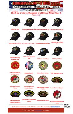 20% off 100s of Select Ball Caps and Patches - 48 Hour Sale starts 7-24-17 http://www.priorservice.com Not Valid for Prior Orders #sale #army #navy #usmc #usaf #uscg #priorservice