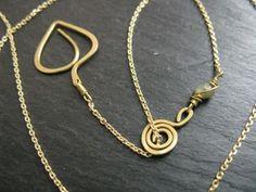 Geometric leaf, dainty brass chain necklace, interlink or lariat option