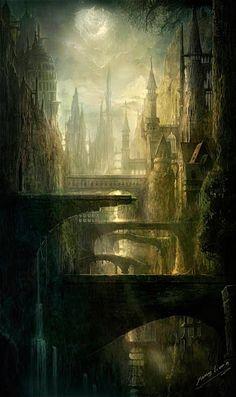 Dark Fantasy Landscape Dreams Concept Art Ideas For 2019 Fantasy City, Fantasy Places, Fantasy World, Dark Fantasy, Fantasy Art Landscapes, Fantasy Landscape, Landscape Art, Vista Landscape, Fantasy Concept Art