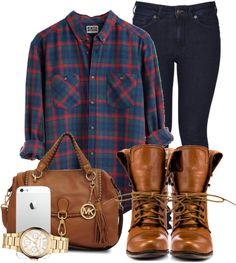 Dark jeans, dark blue and purple plaid flannel, brown shoes and bag...not sure what the rest of that is in the picture.