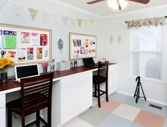 10 Clever Ways to Use Stock Kitchen Cabinets (Throughout the House)A long craft room desk made from sets of base cabinets, from How to Nest for Less.