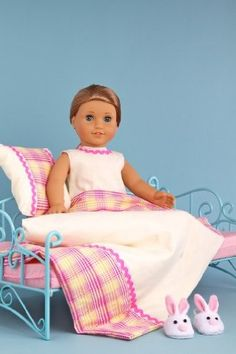 DreamWorld Collections Sweet Dreams - Bedding and pajama 5 pieces gift set - American Girl Doll Clothes : Doll Bedding Sets