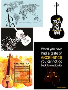 Graphics for orchestra classroom posters, magnets, stickers, etc.