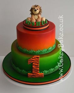 This cake was made for a friend's little boy's first birthday. I hate modelling and I also hate 'novelty' cakes (more because it's just not my style – I love seeing others' novelty cakes, just no inclination to do them myself! Airbrush Cake, Lion Cakes, Brownie Cake, Brownies, Animal Cakes, Themed Wedding Cakes, Types Of Cakes, Fondant Toppers, Painted Cakes